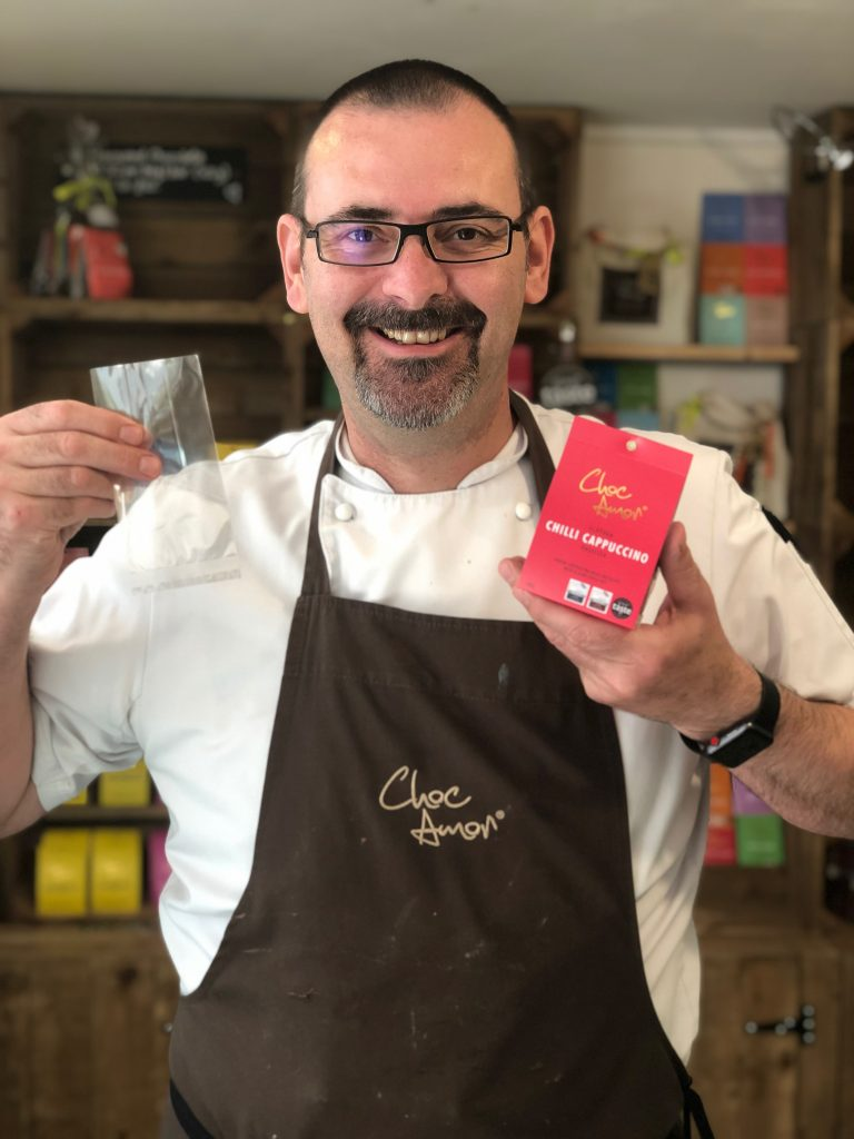 Paul Williams with Choc Amor's new compostable packaging.